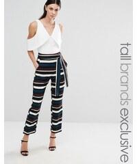 Lavish Alice Tall - Pantalon taille haute à rayures variées - Multi