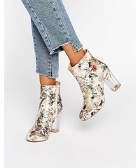 Public Desire Claudia - Ankle Boots mit Blumenmuster und transparentem Absatz - Mehrfarbig