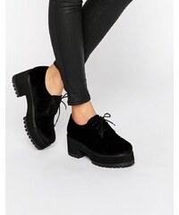 ASOS - OBACA - Grosses chaussures en velours et à lacets - Noir