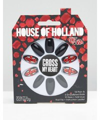 House Of Holland By Elegant Touch - Party-Nägel - Cross My Heart - Schwarz