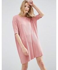 ASOS - Geripptes T-Shirt-Kleid - Rosa