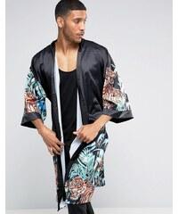 Jaded London - Kimono à imprimé tigre et fleurs - Noir
