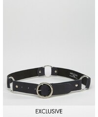 Retro Luxe London - Ledergürtel mit Ring - Schwarz