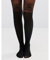 Gipsy - Collants à porte-jarretelles avec détail baroque - Noir
