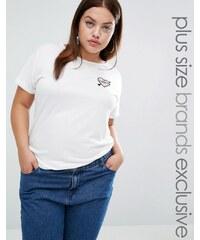 Daisy Street Plus - T-shirt avec blason brodé - Blanc