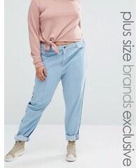 Daisy Street Plus - Jean boyfriend à empiècements contrastants devant et au dos - Bleu