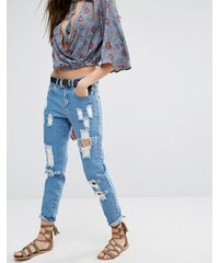 Honey Punch Honey - Boyfriends-Jeans im Used-Look - Blau