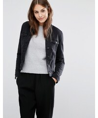 Vero Moda - Veste en jean avec col en fausse fourrure - Noir