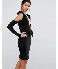 Bec & Bridge - Petals - Kleid mit Knoten und tiefem Ausschnitt - Schwarz