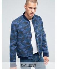 Liquor & Poker - Bomber en jean motif camouflage - Bleu marine