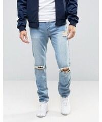 Liquor & Poker - Jean délavé et déchiré style 90's - Bleu