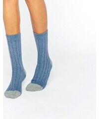 Johnstons of Elgin - Chaussettes côtelées color block en cachemire - Bleu - Bleu