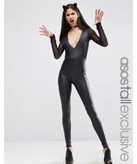 ASOS TALL - Combi moulante en similicuir avec empiècement sexy en résille pour Halloween - Noir
