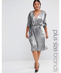 Lovedrobe - Kleid mit Vorderseite in Wickeloptik - Silber
