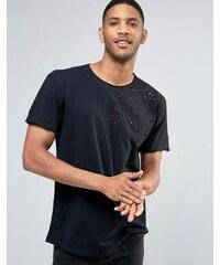 Pull&Bear - Schwarzes T-Shirt im Distressed-Look - Schwarz
