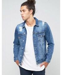 ASOS - Veste en jean avec déchirures - Bleu moyen - Bleu