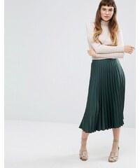 Miss Selfridge - Jupe mi-longue en crêpe de satin - Vert