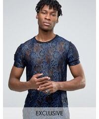 Reclaimed Vintage - T-shirt en dentelle - Bleu