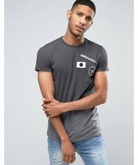 Pull&Bear - T-shirt ombré avec écusson - Gris foncé - Gris