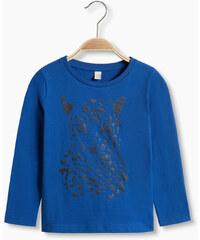 Esprit Tričko z bavlny, dlouhý rukáv, třpytivý potisk