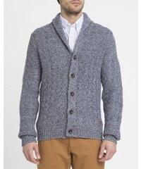WRANGLER Marineblau melierter Pullover mit Zopfmuster und Schalkragen