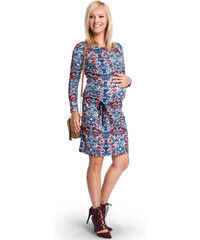 Happymum Modré květované těhotenské šaty Mandala