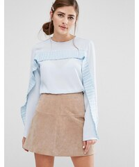 Fashion Union - Top à manches longues et volants plissés - Blanc