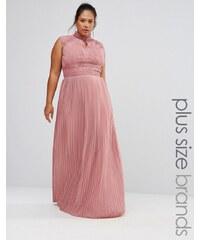 TFNC Plus Wedding - Robe longue plissée avec détails en dentelle - Rose