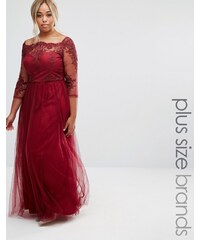 Chi Chi Plus Chi Chi London Plus - Robe longue avec corsage en dentelle de qualité supérieure et jupe en tulle - Rouge