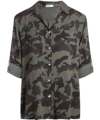 Chemise camouflage manches pattes Vert Viscose - Femme Taille 0 - Cache Cache