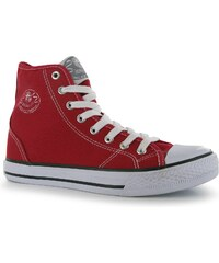 Dunlop Ladies Canvas High Top Trainers, red