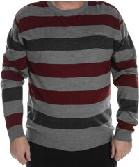 Pierre Cardin Cardin Extra Large Stripe Knitted Jumper Mens, grey marl