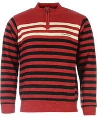 Pierre Cardin Stripe Half Zip Jumper, red/black