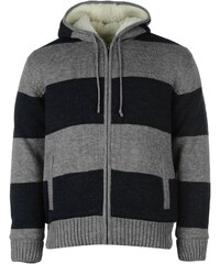 Soul Cal SoulCal Stripe Lined Knitted Cardigan, navy/grey marl