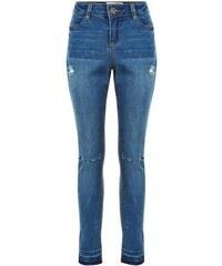 New Look Teenager – Blaue Skinny-Jeans mit abfallendem Saum und zerrissener Kniepartie