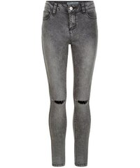 New Look Teenager – Dunkelgraue Skinny-Jeans mit zerschlissenen Knien