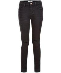 New Look Teenager – Skinny-Jeans mit abfallendem Saum in verwaschenem Schwarz