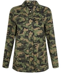 New Look Teenager – Hemdjacke mit Camouflage-Muster in Khaki