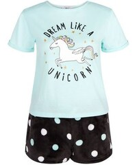 "New Look Teenager – Minzgrünes Pyjama-Set mit dem Aufdruck ""Dream Like a Unicorn"""