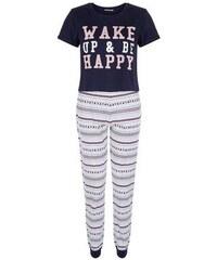 "New Look Teenager – Blaues ""Wake up""-Pyjama-Set mit Fairisle-Muster"