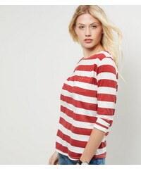 New Look Rot gestreiftes Oberteil mit 3/4-Ärmeln und Tasche
