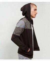New Look Schwarzer Kapuzenpullover im Colorblock-Design, mit Reißverschluss