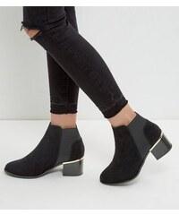 New Look Schwarze Chelsea-Stiefel mit Metallverzierung, weite Passform