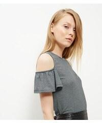 New Look Graues schulterfreies T-Shirt mit Rüsche