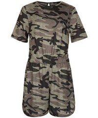 New Look Teenager – Khakifarbener Playsuit mit Camouflage-Muster