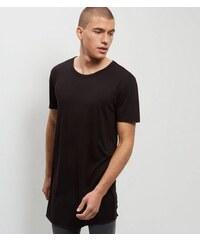 New Look Schwarzes, extra lang geschnittenes T-Shirt