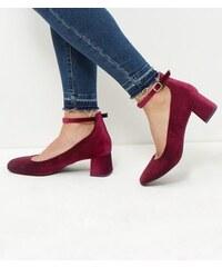 New Look Rote Samtschuhe mit Blockabsatz, Weite H