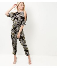 New Look Cameo Rose – Schulterfreier Jumpsuit mit Paisleymuster in Schwarz