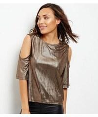 New Look Cameo Rose – Bronzefarbenes schulterfreies Metallic-T-Shirt