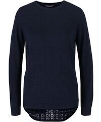 Tmavě modrý svetr s perforovaným rozparkem na zádech Dorothy Perkins